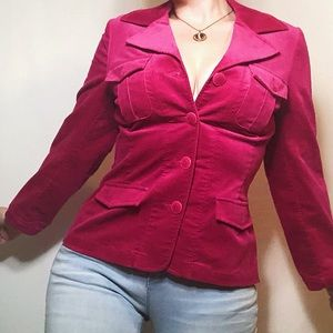 Tribal hot pink velvet button front blazer